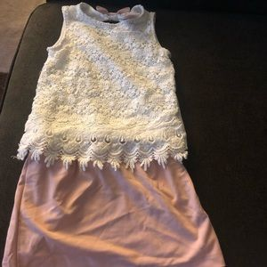 NWOT 2 piece pink and white skirt set 3T